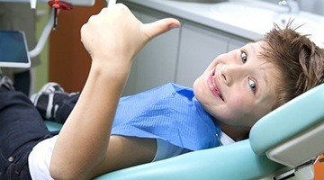 A young child at a dental appointment.